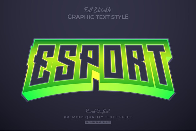Esport team green editable text effect font style