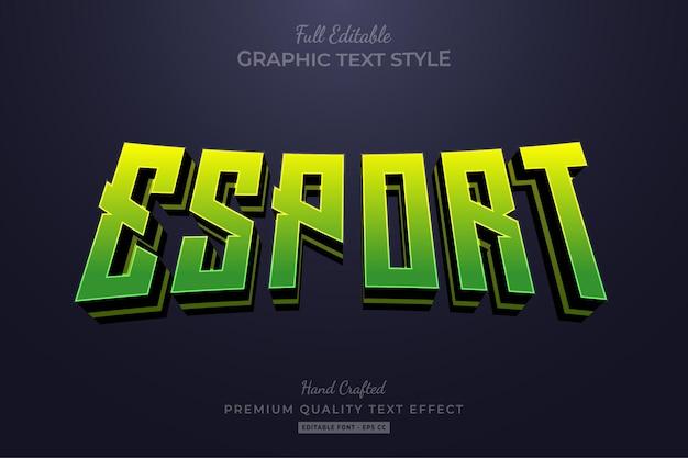Стиль шрифта с редактируемым текстовым эффектом esport team green