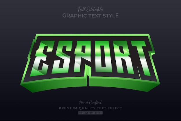 Esport team green editable text effect font style