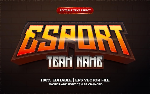 Eスポーツチーム名3dゲームロゴ編集可能なテキスト効果