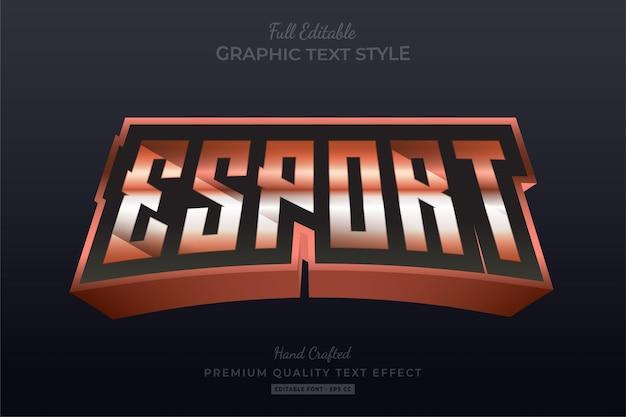 Стиль шрифта с редактируемым текстовым эффектом esport team orange
