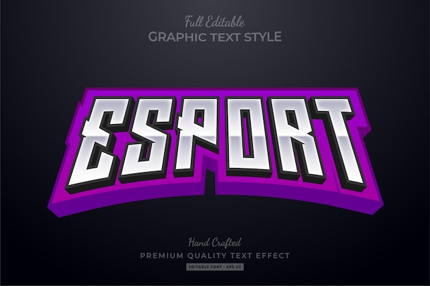 Esport team purple editable text effect font style