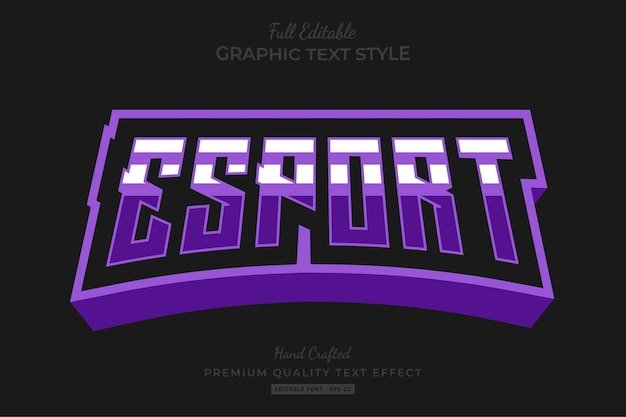 Esport team stripped editable text effect font style