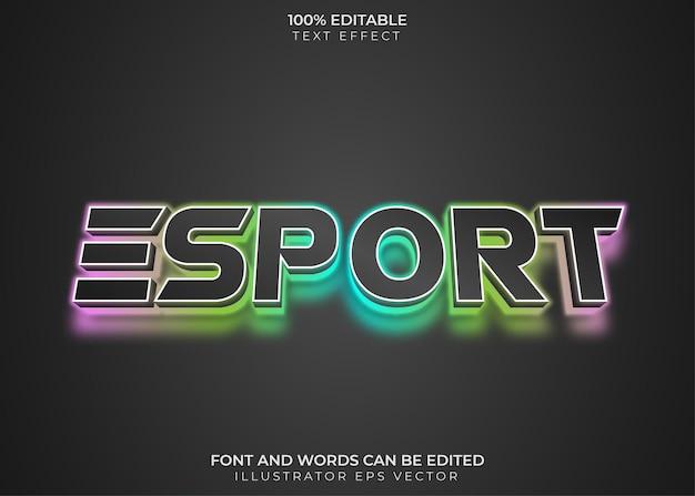 Esport text effect colorful neon le light
