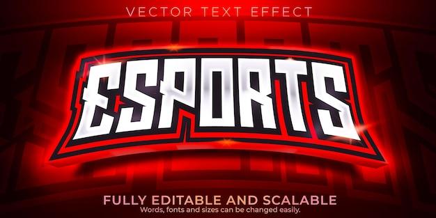 Текстовый эффект киберспорта, редактируемый геймер и неоновый стиль текста