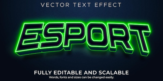 Esport text effect, editable neon and gaming text style Free Vector