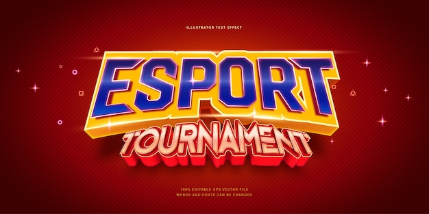 Esport tournament text effect. editable text effect