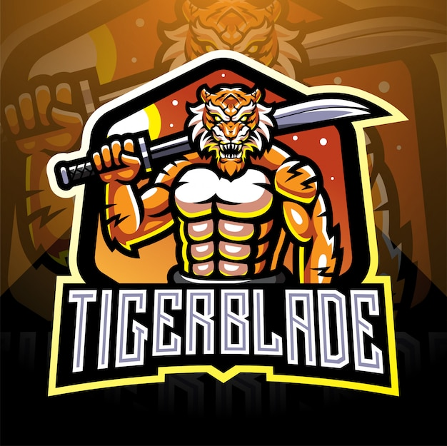 Тигр с клинком в виде логотипа талисмана esport