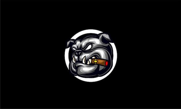 Черно-белый бульдог с сигаретным логотипом esport