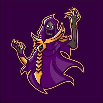 恐ろしい死神ネクロマンサーesportゲームマスコットのロゴテンプレート