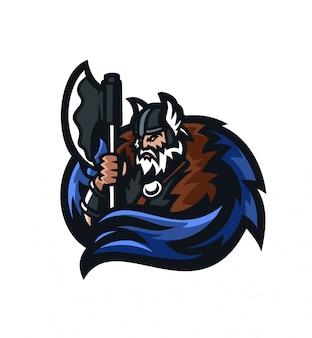 野蛮人のバイキングの騎士esportのゲームのマスコットのロゴのテンプレート