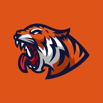 Шаблон логотипа талисмана тигра esport