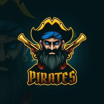 フリントロックピストルのesportロゴ付き海賊
