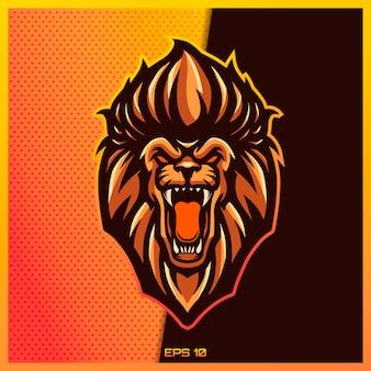 Сердитый коричневый логотип esport текста рева льва и талисман спорта конструируют в современной концепции иллюстрации для печати эмблемы значка команды и печати жажды. иллюстрация льва на коричневом золотом фоне. иллюстрация