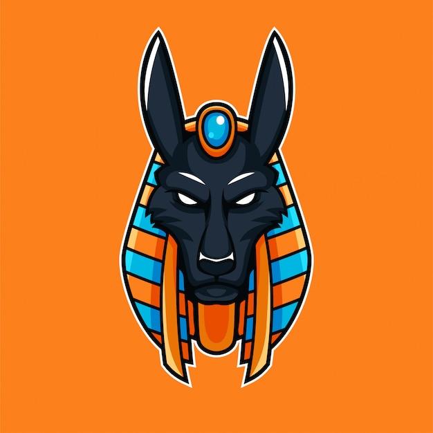 アニバスエジプトの神話の神話マスコットesportゲーミングロゴ