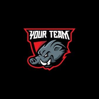 Esports boar head маскот логотип