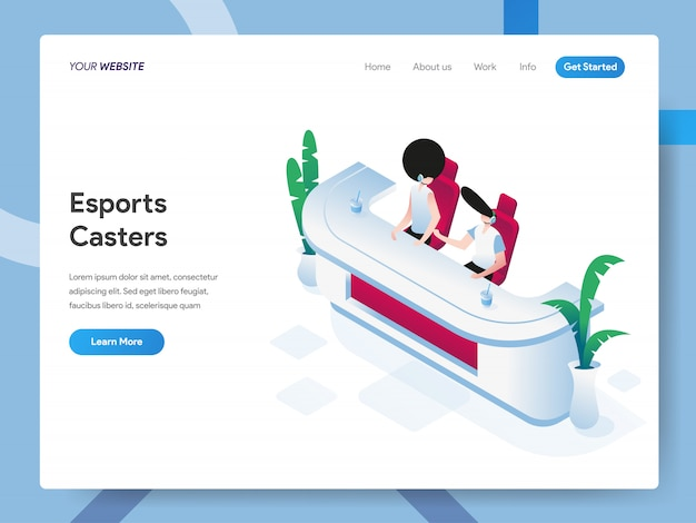 Esports casters isometric illustration for website page