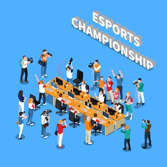 Esports championship isometric composition