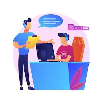 Иллюстрация абстрактной концепции коучинга киберспорта. уроки с профессиональным игроком, бесплатный веб-семинар по киберспорту, производительность игрока, приложение для обучения видеоиграм, команда киберспорта