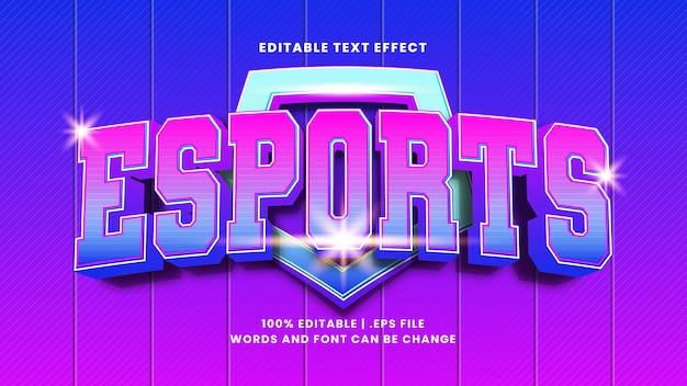 Редактируемый текстовый эффект киберспорта в современном 3d стиле