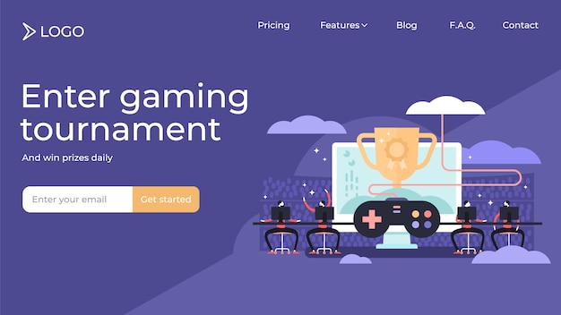 Esports flat tiny persons vector illustration landing page template design.