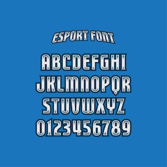 Blue font and text with e-sports logo style Vector | Premium