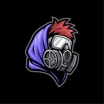 Esports mascot boy wearing gas mask