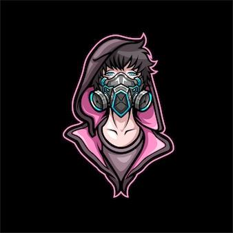 Esports mascot, cool boy using gas mask