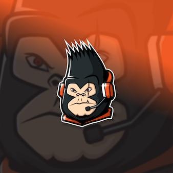 Киберспортивный талисман логотип руководитель команды kong squad