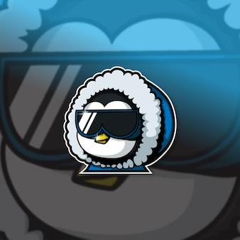 Киберспортивный талисман с логотипом команды пингвинов