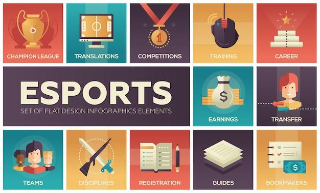 Eスポーツ-モダンなベクターフラットデザインアイコンセット。ニュース、プレーヤー登録、パーティー、ガイド、トレーニング、転送、収益、大会、チャンピオン、ブックメーカー、スポンサー