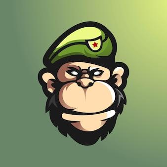 Шаблон логотипа команды киберспорта с иллюстрацией обезьяны