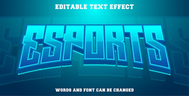 Esports text effect cyan color