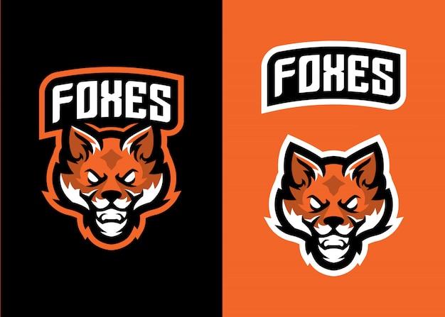 スポーツとesportsロゴのヘッドフォックスマスコットロゴ