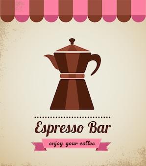 Espresso bar vinatge poster with macchinetta