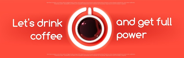 赤の電源ボタンのサインのようなエスプレッソコーヒーカップの上面図