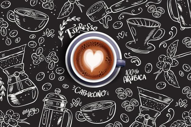 泡で形作られたハートのエスプレッソコーヒーカップ