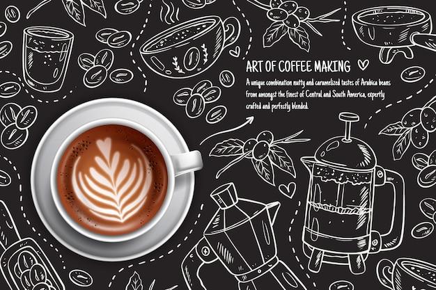 Чашка кофе эспрессо с листиком из пены