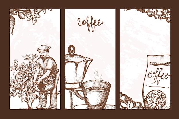 에스프레소 커피 전단지 세트