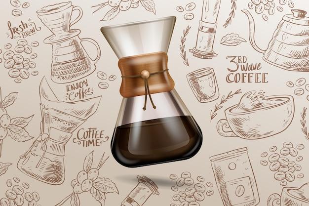 派手なグラスに入ったエスプレッソコーヒー