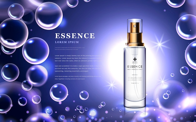 Essence bottle with attractive bubbles and purple background