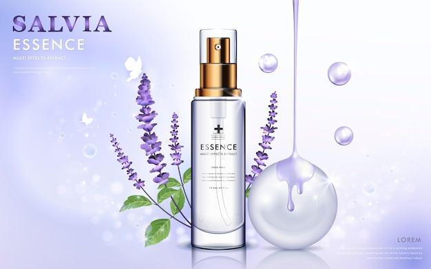 Essence bottle with purple salvia and oil dripping from top