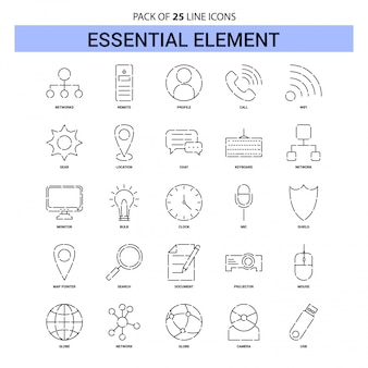 Essential element line icon set - 25 dashed outline style