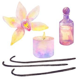 ボトルに入ったエッセンシャルオイル、バニラの花とスティック、パステルピンクの色調の燃えるキャンドル。