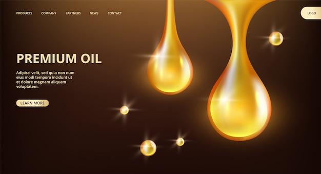 Essential oil landing page. shine flowing drops web banner. premium oil, petrol banner template