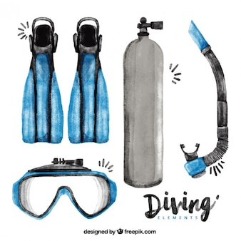 Essential watercolor diving elements