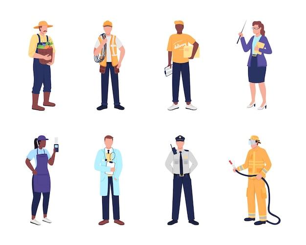 필수 작업자 평면 색상 벡터 얼굴 없는 문자 집합입니다. 소방관, 경찰관, 제복을 입은 의사. 웹 그래픽 디자인 및 애니메이션 컬렉션에 대 한 공공 서비스 직원 격리 된 만화 그림