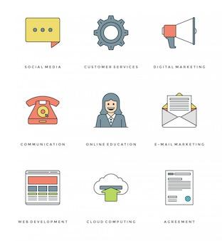 Плоская линия простые иконки набор. тонкие линейные инсульта иконки essentials объекты концепции.