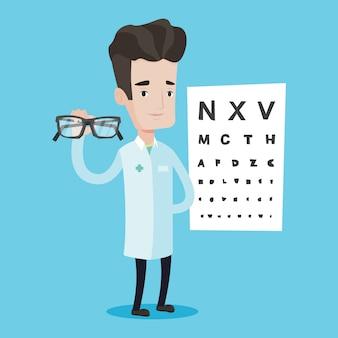 Essional ophthalmologist holding eyeglasses.