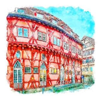 Esslingen 독일 수채화 스케치 손으로 그린 그림